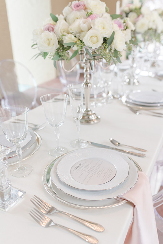 chic classic table decor in soft pink white and silver