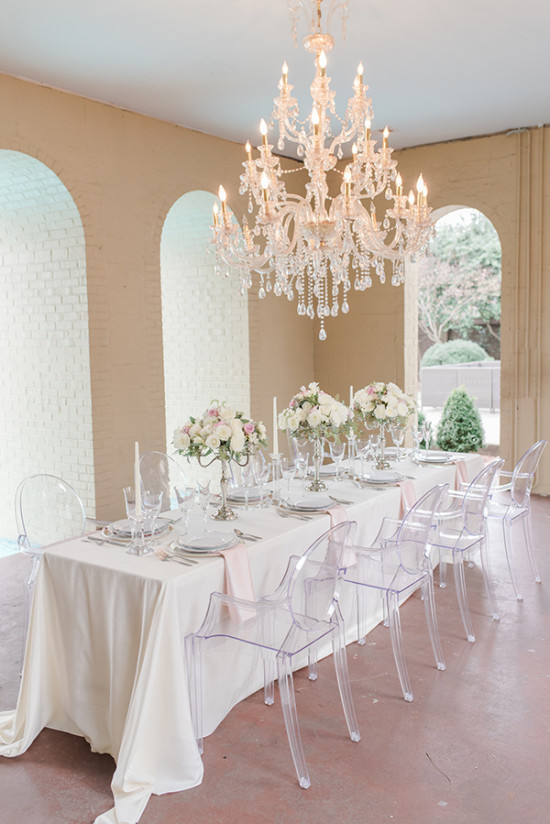 formal dinner reception table decor in silver white and pink