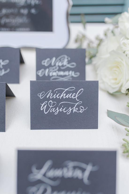 elegant calligraphy characoal gray escort cards