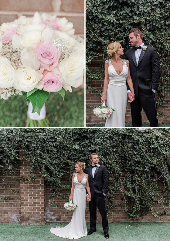 classic glam bride and groom and pink white and sparkle bouquet