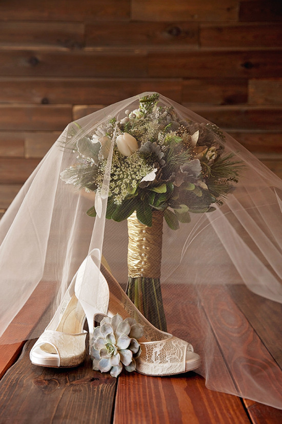 wedding bouquet and lace shoes