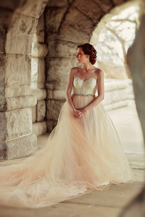 romantic wedding gown with train