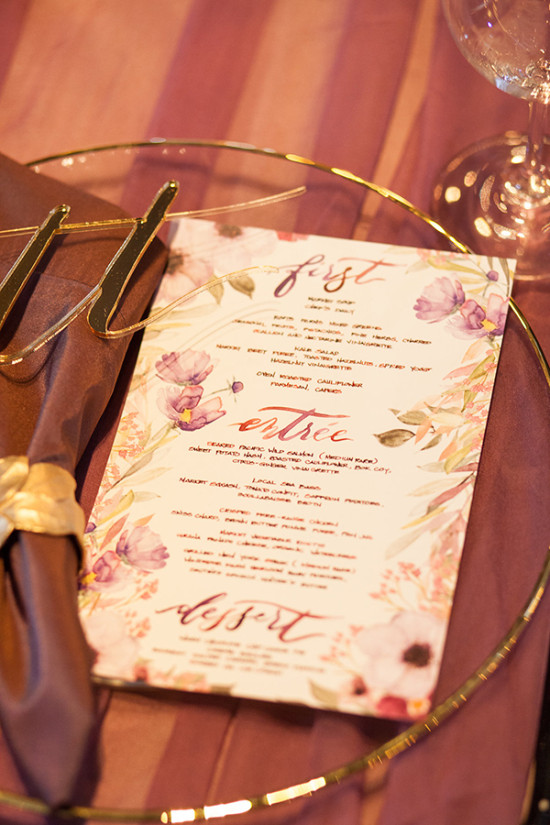 Purple water color wedding menu