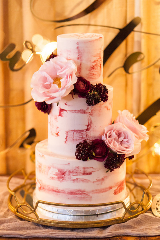 Purple watercolor wedding cake