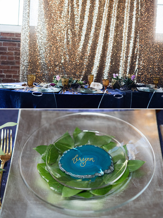 Geode table decor and details