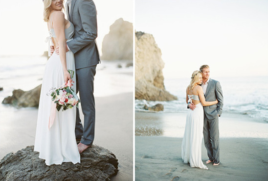 sweet and casual bride and groom look on the beach