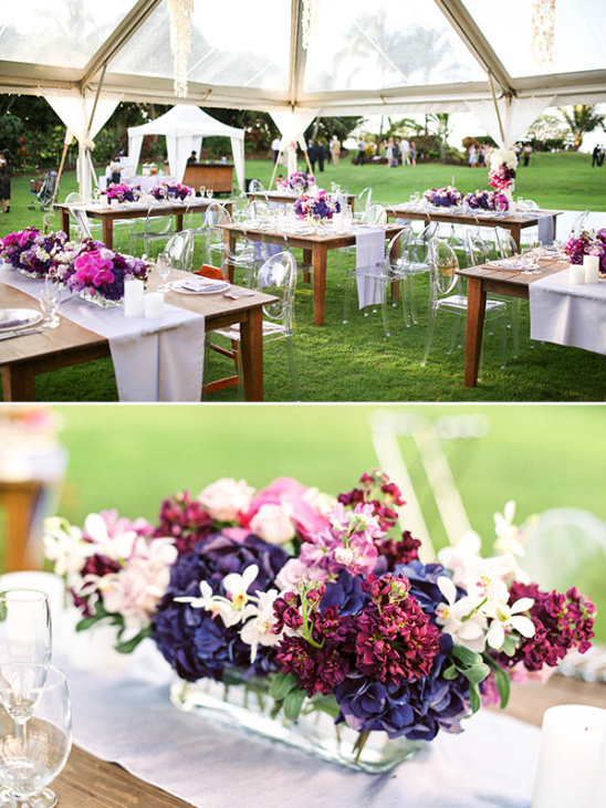 outdoor tented wedding reception in purple and pink