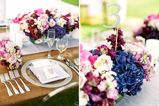 purple pink and silver place setting