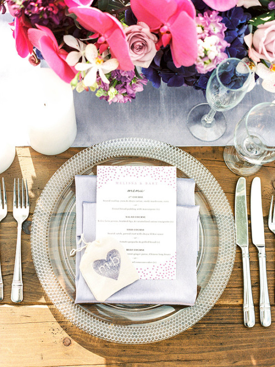 wedding reception menu and silver place setting