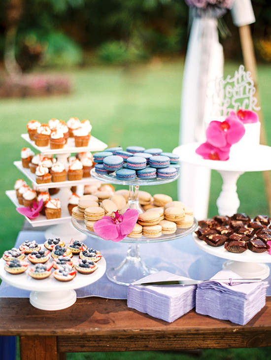 sweet little dessert table with lots of different choices
