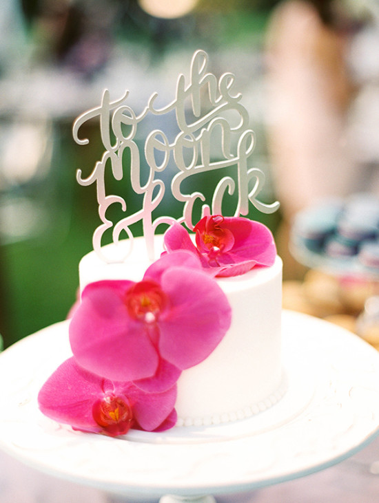 mini wedding cake and cute to the moon and back cake topper