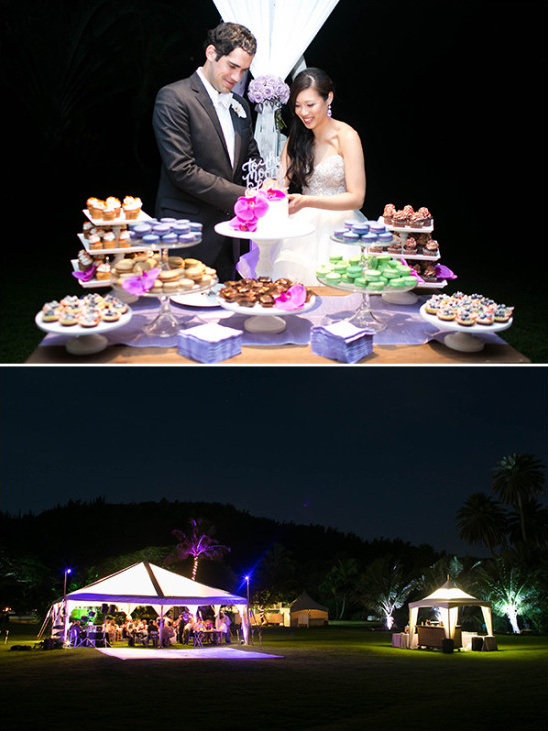 night time reception lighting and cake cutting