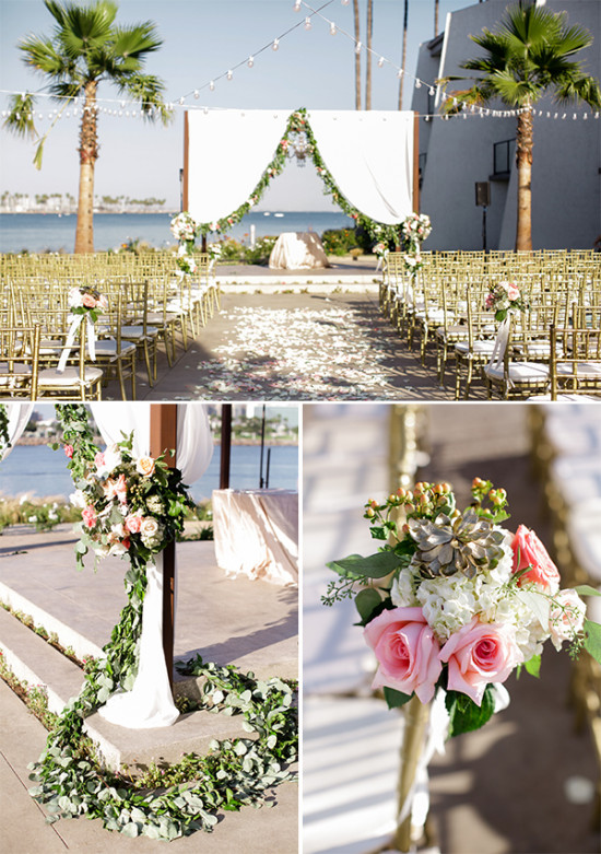 Gray, Peach And Gold Wedding