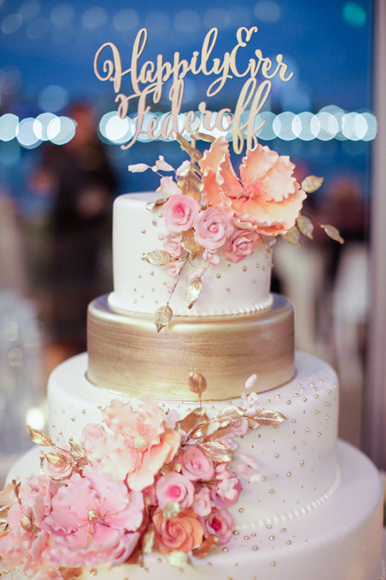 white peach and gold wedding cake gray and gold wedding 27306