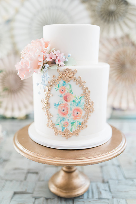 blush flowers hand painted wedding cake