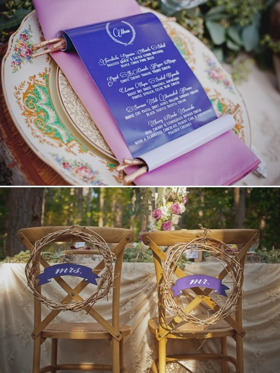 scroll menu and mr and mrs wreath seat signs