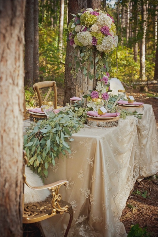 enchanted forest wedding reception idea