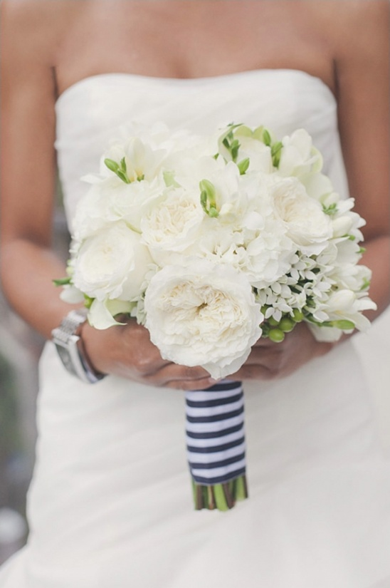 white lush wedding bouquet
