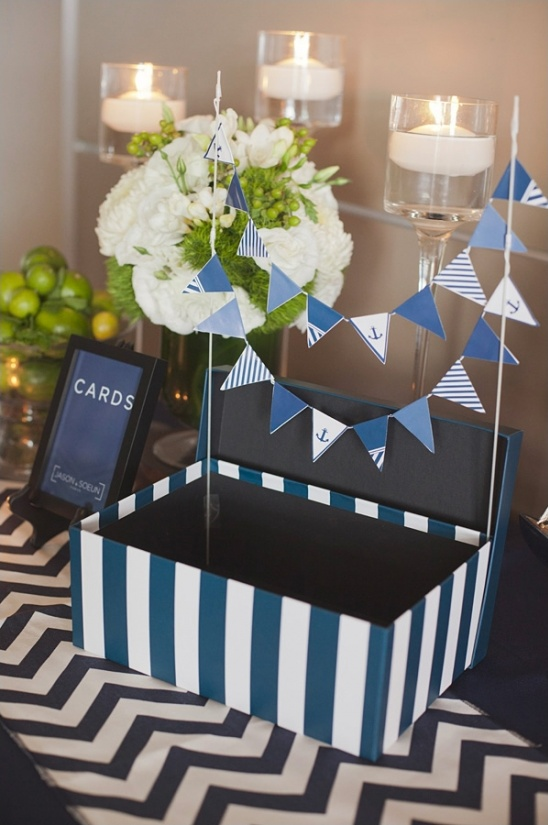 navy and white striped card box