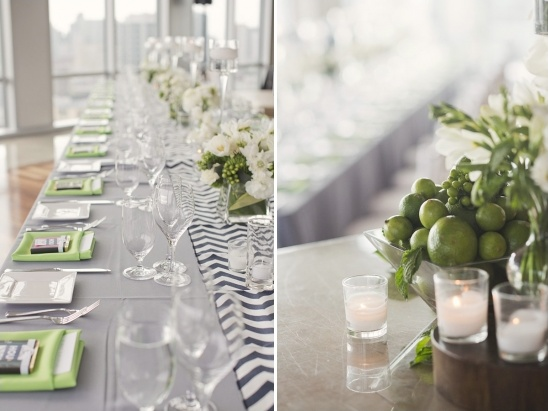 lime green and navy wedding reception