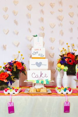 Typographic Cake Table Ideas in Bright and Bold Colors