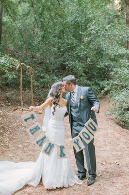 Bold And Bright DIY Wedding In the Woods