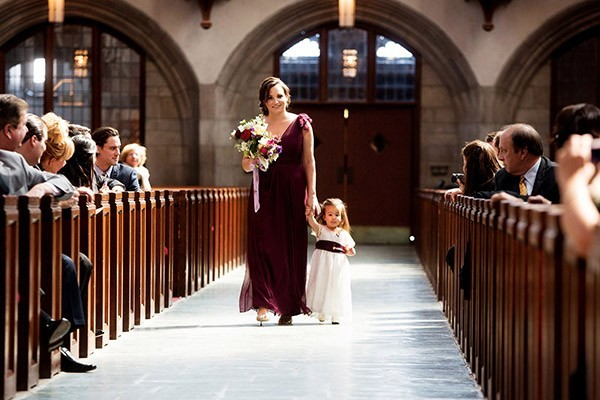 Purple and Gold Cathedral Wedding