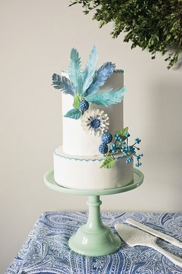spring themed bridal shower in blue and white