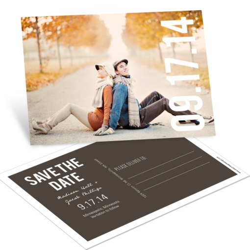Save the Date Postcards -- Big Date Horizontal Photo