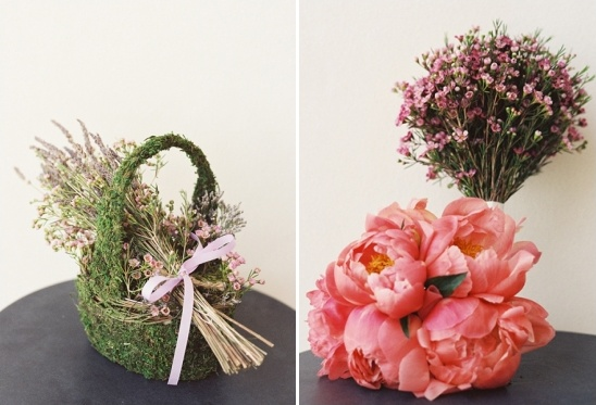 flower girl basket and pink bridesmaid bouquets