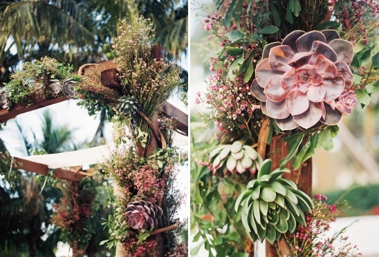 chuppah decroated with succulents