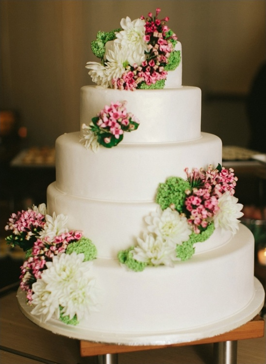 simple tiered white wedding cake