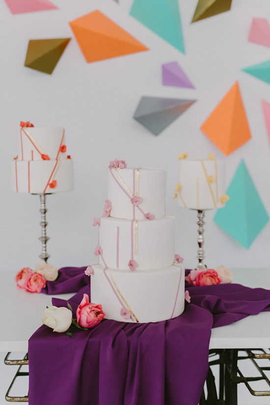 geometric colorful wedding cakes