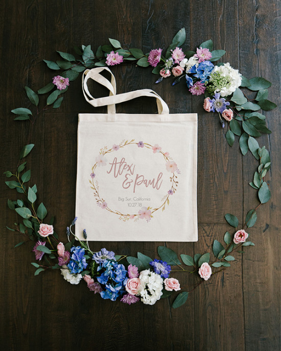 floral wreath customizeable tote bag