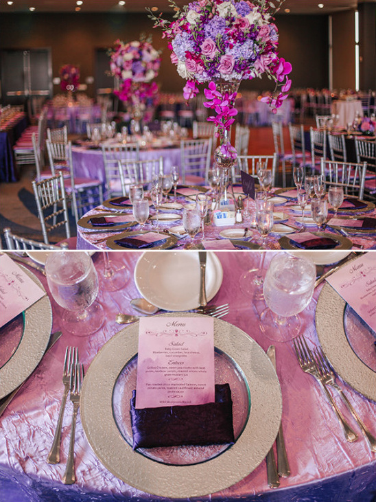 Pink and purple table decor