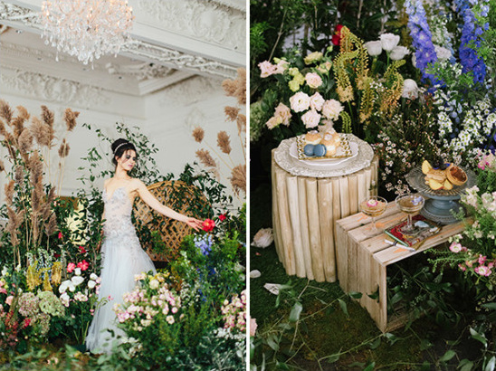 bringing the outdoors inside bridal shoot
