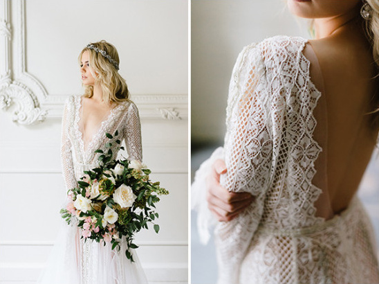 intricate lace detailed wedding dress