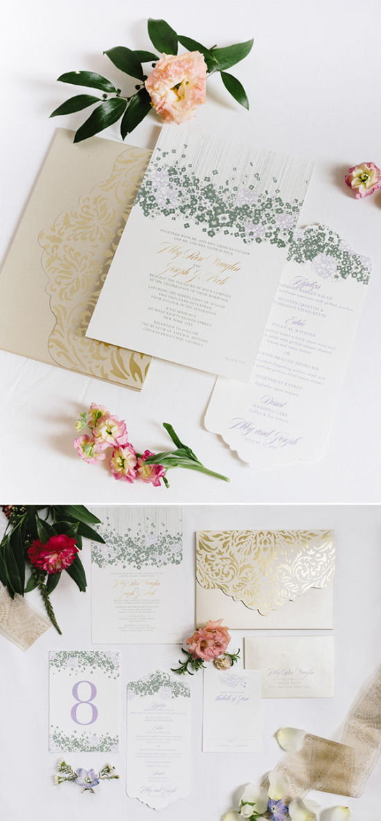 elegant garden themed wedding stationery