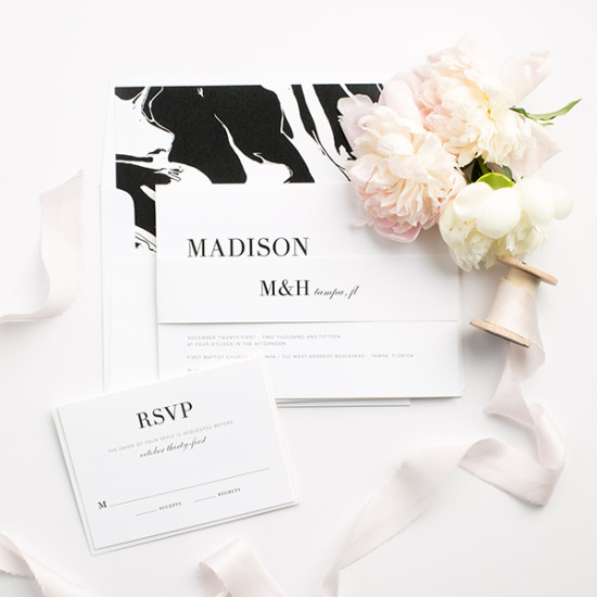 Modern chic marble inspired wedding invite suite