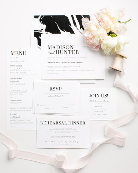 Shine Modern Marbel Invitation Suite