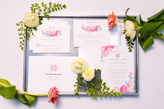 pink peony watercolor wedding invites