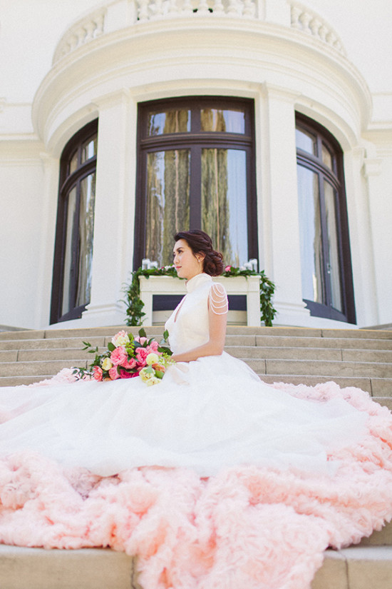 pink ombre wedding gown