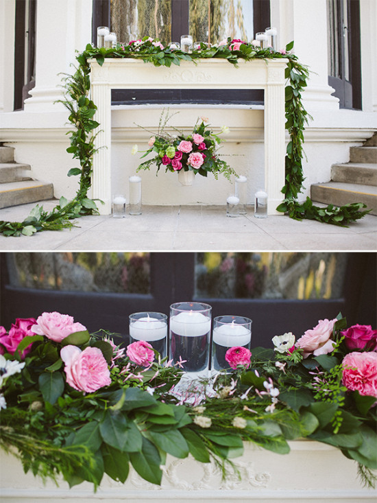 white wedding altar with pink flowers