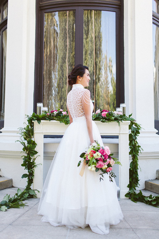 beaded back wedding gown