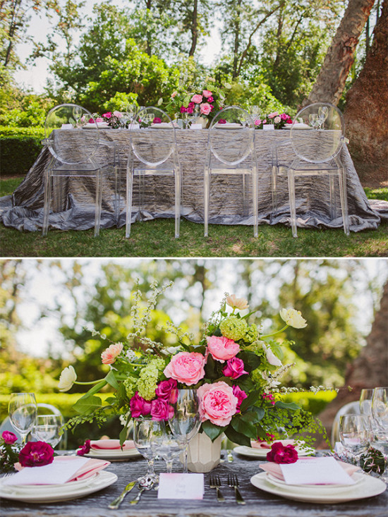 gray and pink reception decor