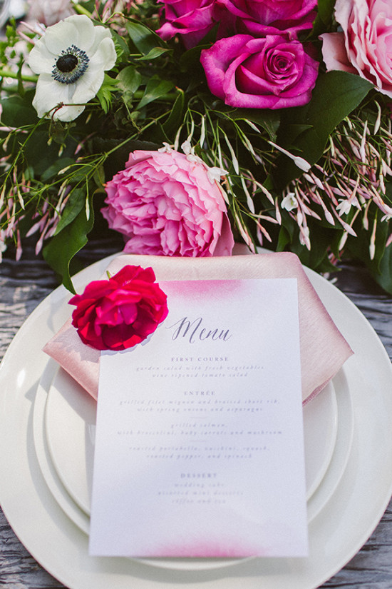 pink delicate wedding menu idea