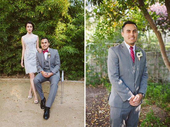 gray and pink groomsman look