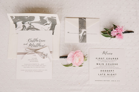 Marbled grey and white invitation suite