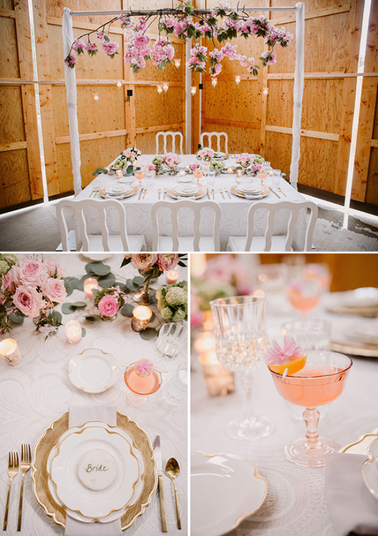 Romantic pink and gold table decor