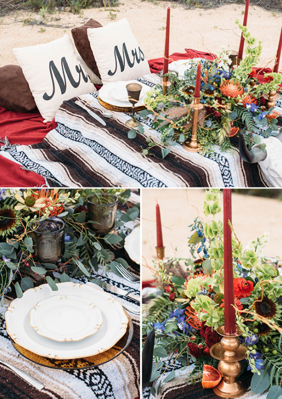 Boho table decor and details